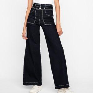 Super High Waisted Stretch Wide Leg Jeans